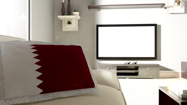 couch and tv with flag of qatar - qatar stock videos & royalty-free footage