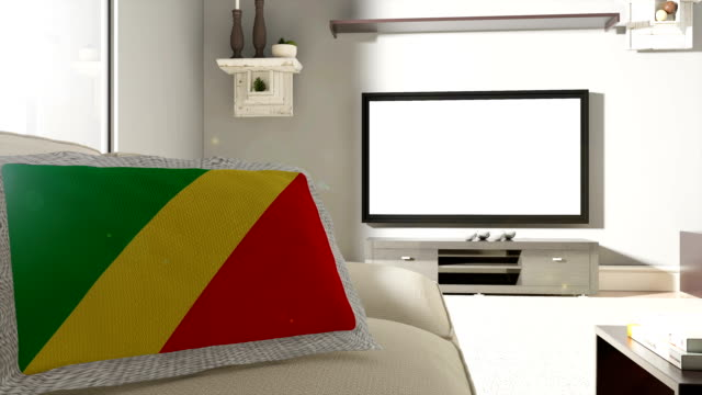 Couch and TV With Flag of Republic of the Congo