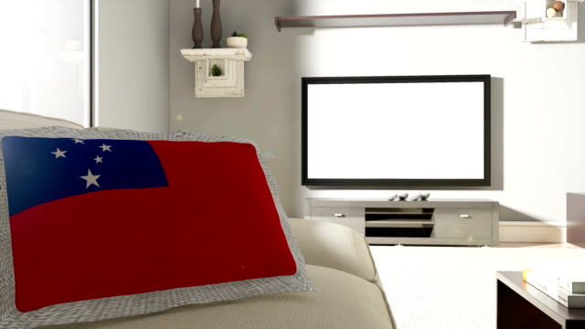 Couch and TV With Flag of Samoa