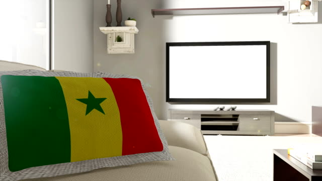 Couch and TV With Flag of Senegal