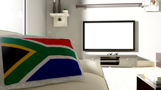 Couch and TV With Flag of South Africa