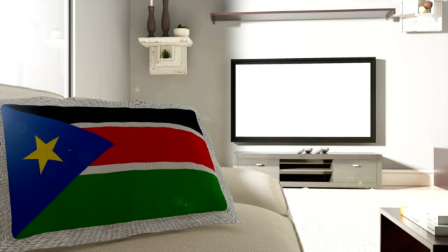 Couch and TV With Flag of South Sudan