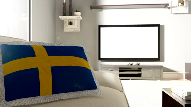 couch and tv with flag of sweden - swedish flag stock videos and b-roll footage