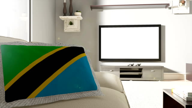 Couch and TV With Flag of Tanzania