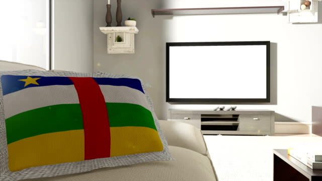 Couch and TV With Flag of The Central African Republic