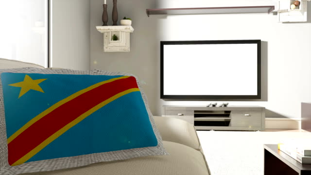 Couch and TV With Flag of The Democratic Republic of the Congo