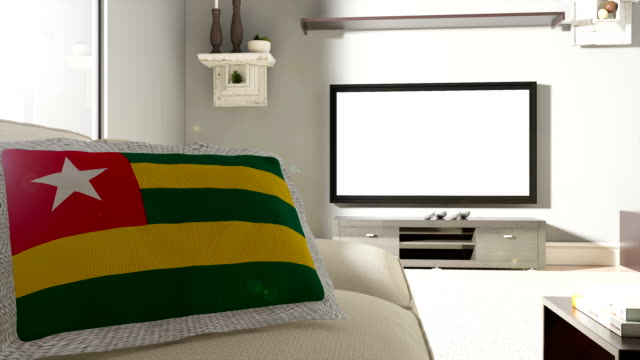 Couch and TV With Flag of Togo