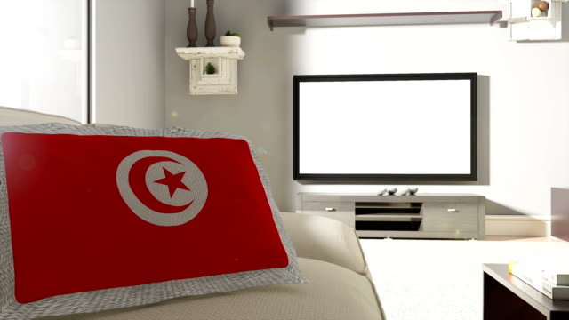 Couch and TV With Flag of Tunisia