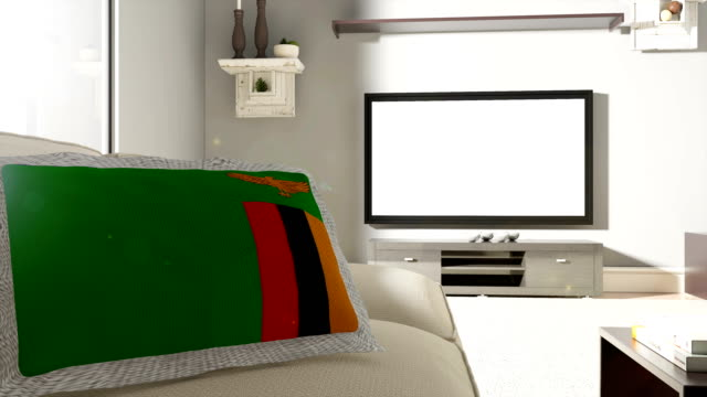 Couch and TV With Flag of Zambia