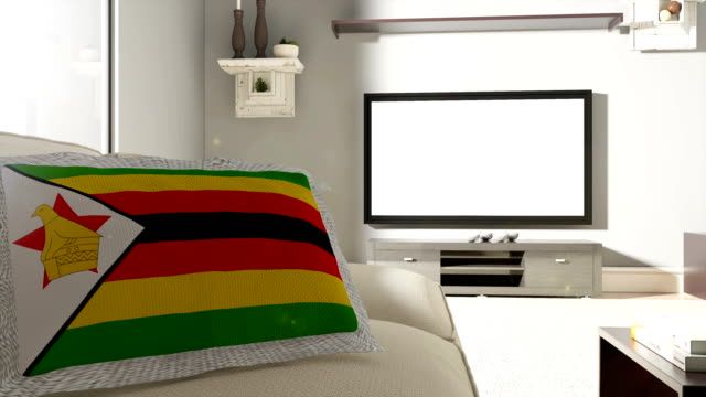 Couch and TV With Flag of Zimbabwe