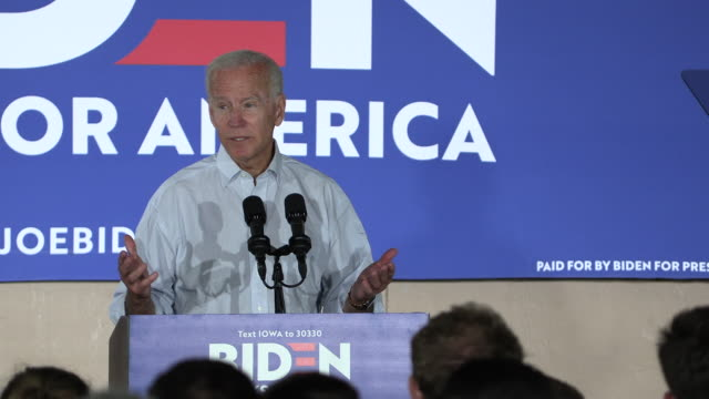 Former United States Vice President Joe Biden campaigns for the Democratic nomination for the 2020 United States presidential election at Grass Wagon...