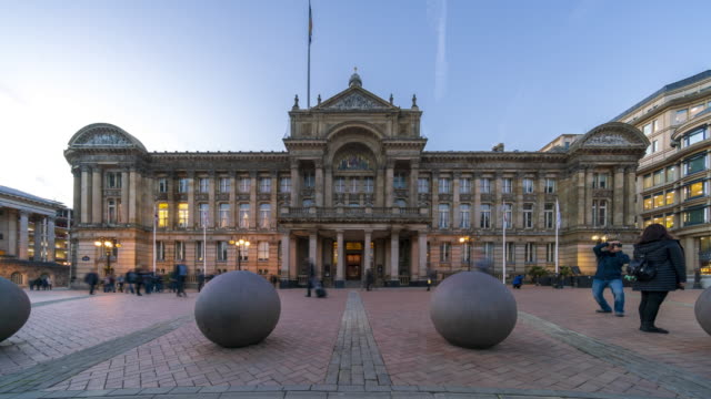 council house in birmingham, uk, time lapse at dusk - birmingham england stock videos & royalty-free footage