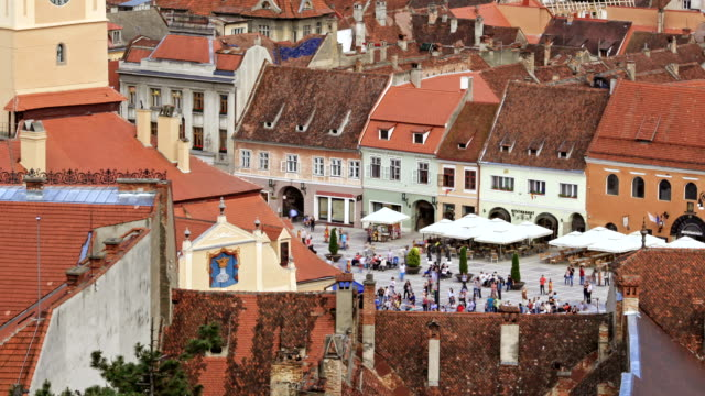 council square in brasov - transilvania video stock e b–roll