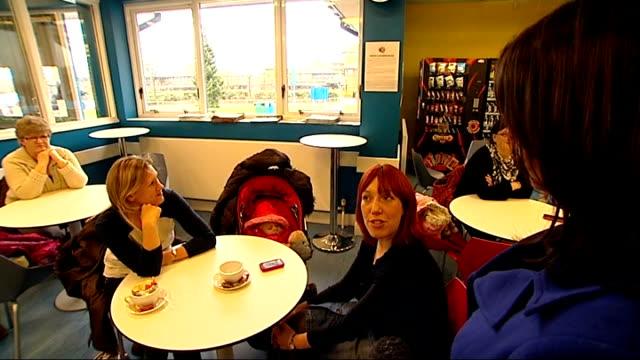 vídeos de stock e filmes b-roll de councillors to be given power to veto salaries of chief executives two women chatting to local councillor about cuts to local community centre vox... - trabalhadora de colarinho branco