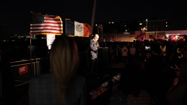 councilman justin brannan speaks at the american veterans memorial pier during a 9/11 community vigil on september 11, 2020 in bay ridge, brooklyn,... - memorial stock videos & royalty-free footage