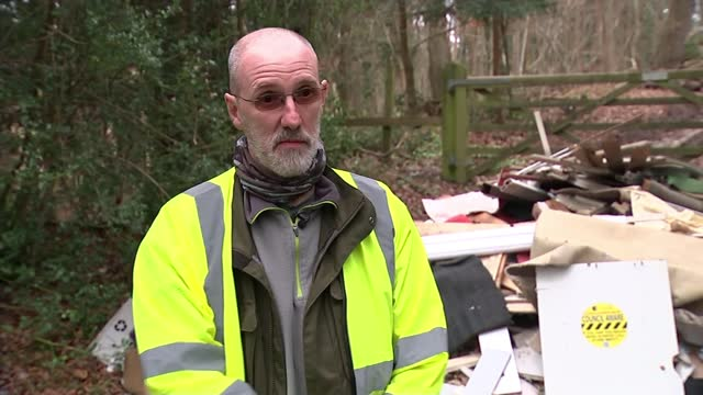 councils in england dealt with nearly 1m cases of fly-tipping in england; england: birmingham: ext reporter to camera along with zaheer akbar pile of... - crime stock videos & royalty-free footage