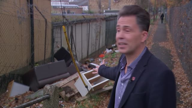 councils say flytipping is becoming more common stuart collins interview sot - itv weekend evening news点の映像素材/bロール