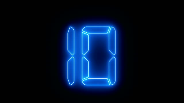 countdown blue neon animation - neon colored stock videos & royalty-free footage