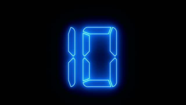 vídeos de stock e filmes b-roll de countdown blue neon animation - dança de discoteca