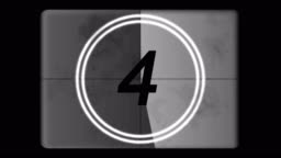 4K Countdown Leader Graphic 5 - 0, With Film Burn & Rolling Effect, Grayscale. Film tone and retro style. Motion graphic and animation. Old style film.