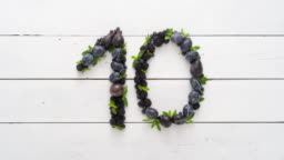 Countdown made from fruit. Counting down from 10 to 1. Top Ten. Typography art made from objects.