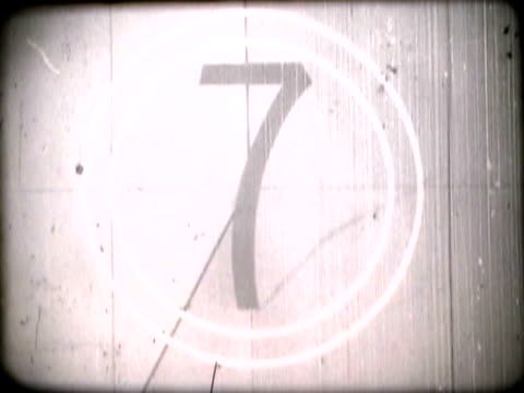 Countdown on a screenFilm countdown with dust and scratches
