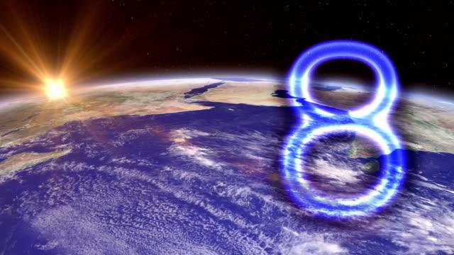 vídeos de stock e filmes b-roll de contagem decrescente para o mundo. - número 7