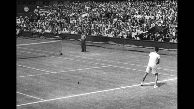 """countdown / sportfolio intro sequence / card: """"place commercial here"""" / americans jack kramer and tom brown walk onto tennis court before their men's... - film leader stock videos & royalty-free footage"""