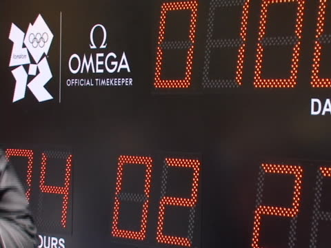 at countdown to olympics event in times square in new york city - sport stock videos & royalty-free footage