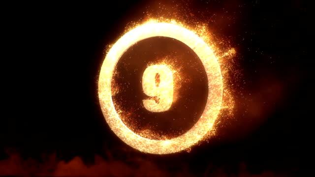 Countdown mit realistische Feuer Circle