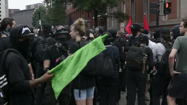 counter protesters demonstrated against the unite the right 2 rally to be held in lafayette park in washington dc thousands of counter protesters and... - anti fascism stock videos & royalty-free footage