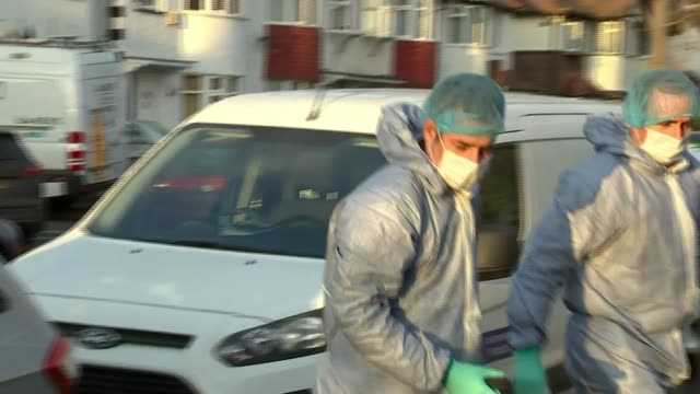 Counter Terror police investigating death of Russian exile in New Malden ENGLAND London New Malden EXT Police officer standing guard by forensic tent...