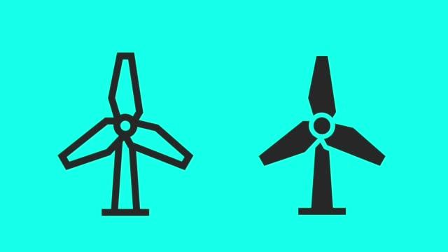 counter-clockwis wind turbine - vector animate - turbine stock videos & royalty-free footage