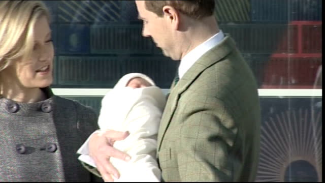 Countess of Wessex and new baby son leave hospital ENGLAND Surrey Frimley Park Hospital EXT Entrance to hospital / Earl of Wessex holding new baby...