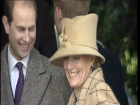Countess of Wessex and Prince Edward smiling outside Sandringham on Christmas Day 25 Dec 2001