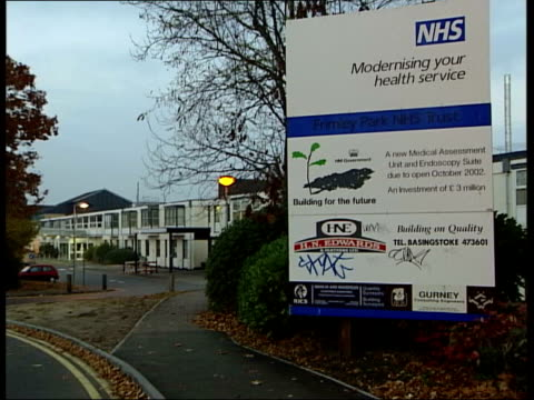 Countess of Wessex has baby girl ITN Frimley Park Hospital Hospital sign PULL Police car outside hospital LA Upper window Clean feed tape = D0625651...