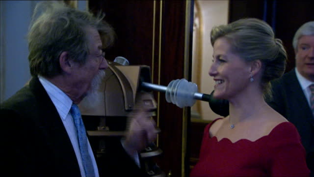 stockvideo's en b-roll-footage met countess of wessex hosts doctor who reception england london buckingham palace photography** matt smith along and greeting people / sophie countess... - tom baker english actor