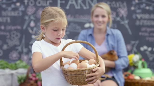 vídeos y material grabado en eventos de stock de conteo de huevos en un stand de la granja - huevo comida básica