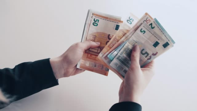 counting euro banknotes - banknote stock videos & royalty-free footage