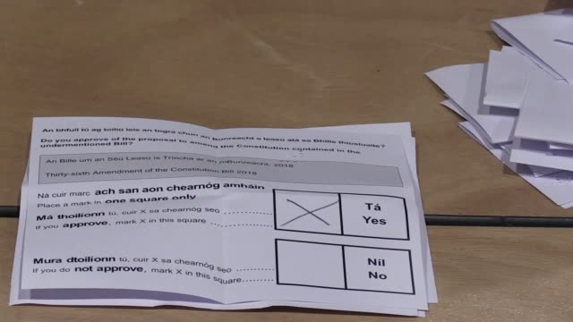counting is under way in ireland's historic abortion referendum after exit polls reported a landslide win for those advocating liberalisation - counting stock videos & royalty-free footage