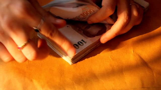 conteggio del denaro. - archivista video stock e b–roll