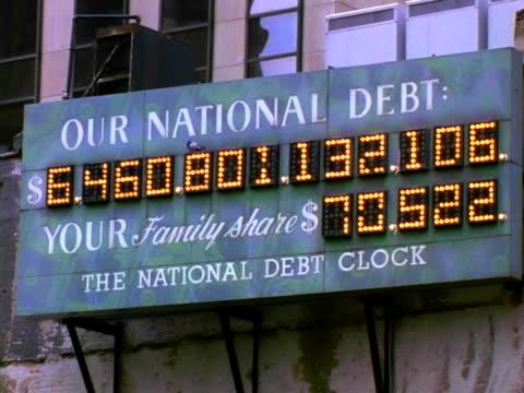 counting of national debt clock - statsskuldklockan bildbanksvideor och videomaterial från bakom kulisserna