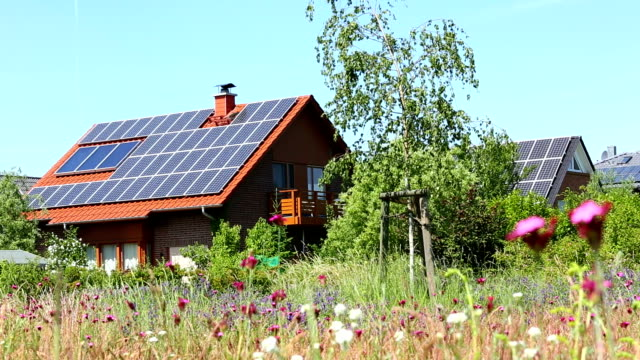 country home with solar energy - solar power station stock videos and b-roll footage