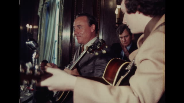 "country music star earl scruggs plays on banjo and sings ""i'll fly away"" at event in nashville, tennessee. - country and western stock videos & royalty-free footage"