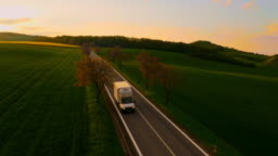 AERIAL Country road in the countryside of Moravia