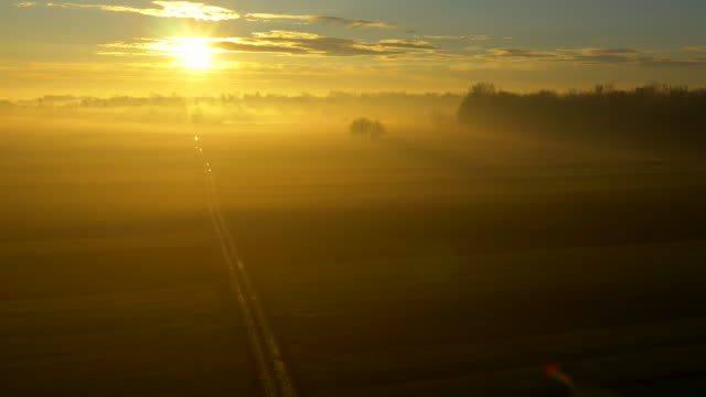 aerial country road in the sunrise - twilight stock videos & royalty-free footage