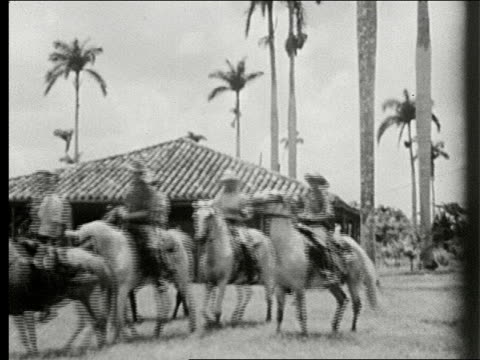 Country road lined with very tall palm trees cart pulled by oxen with cart labeled Republic of Cuba men on horseback wearing cowboy hats prance by...