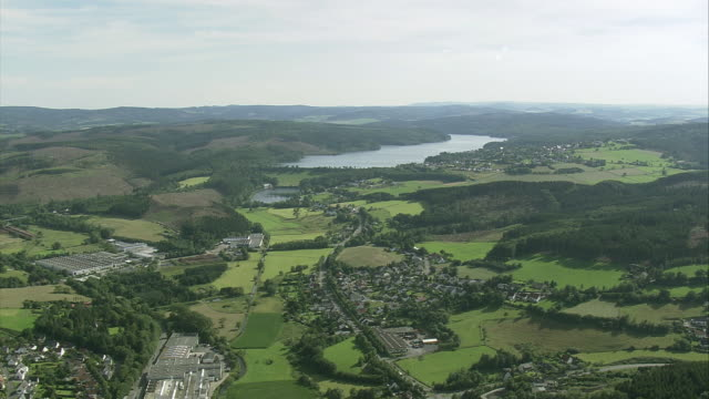 aerial countryside and sorpesee reservoir, north rhine-westphalia, germany - north rhine westphalia stock videos & royalty-free footage