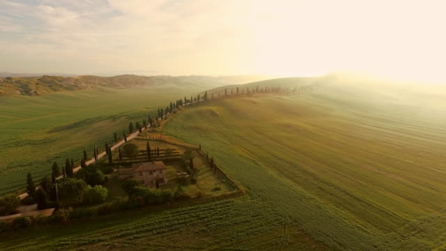 aerial countryside house in tuscany - florence italy stock videos & royalty-free footage