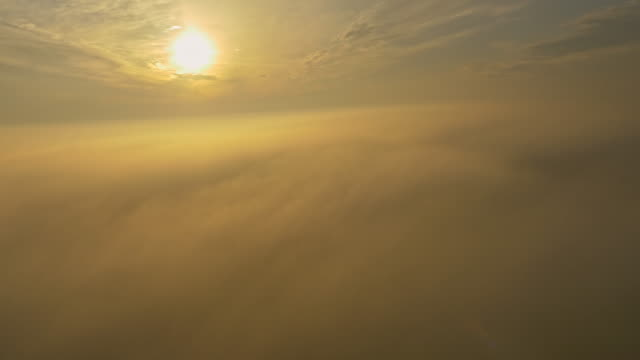 aerial countryside in the fog - multicopter stock videos & royalty-free footage